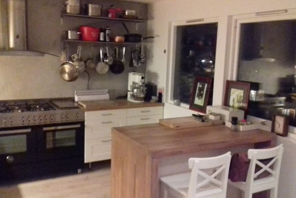 Fully equiped kitchen with a large gas range, 2 ovens, refridgerator with ice/sparkling water dispenser.