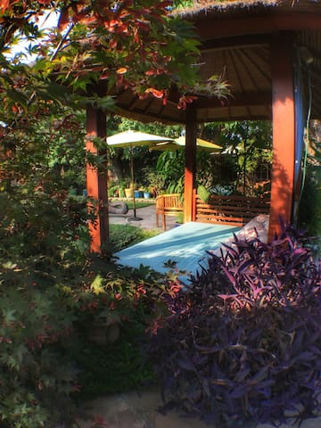 lounge in our Balinese gazeebo...
