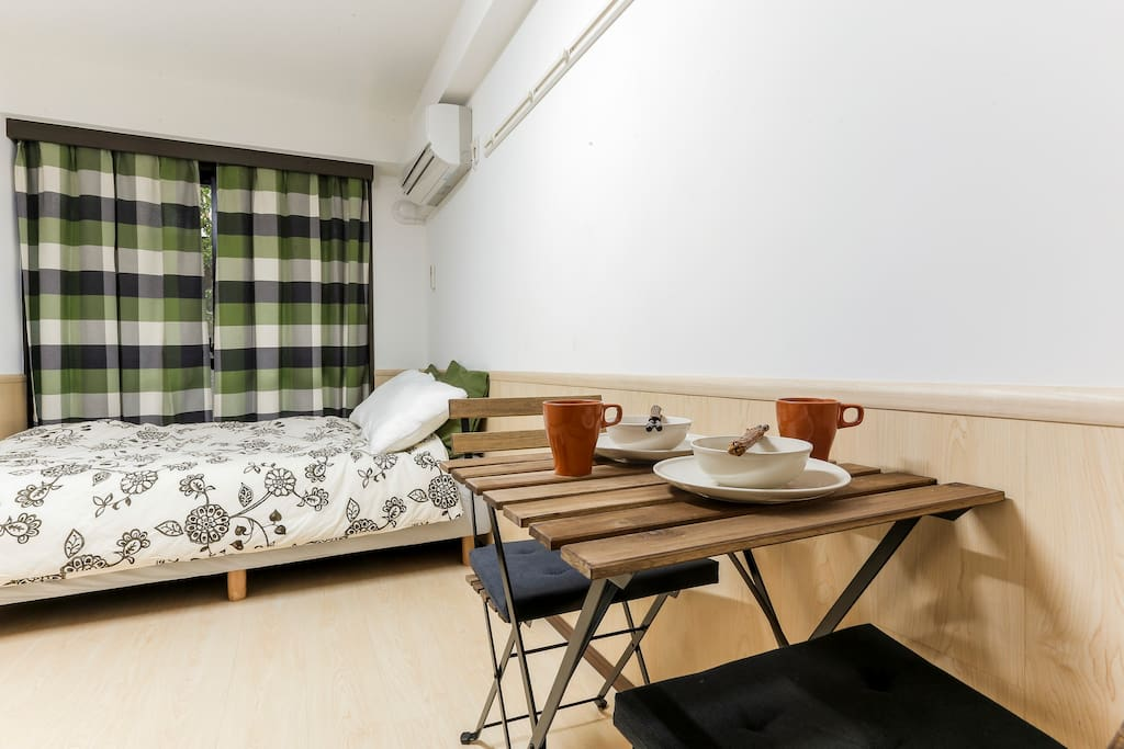 Simple is the best! Less furnitures more spaces, with amenities, Air-con, heated-floor, in-house washing machine, hair-dryer.