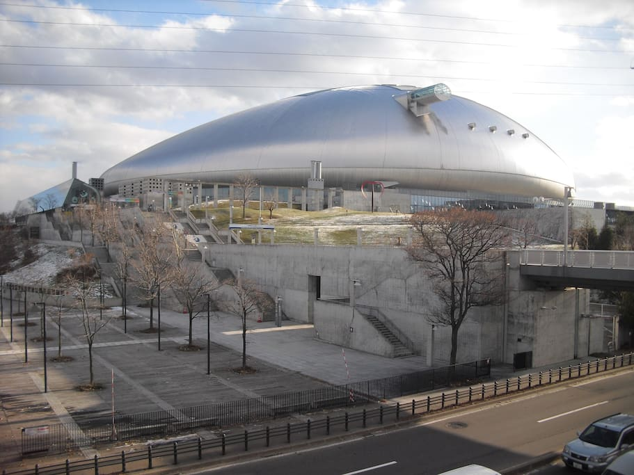 When you get off Fukuzumi station, you'll soon find the gigantic Sapporo Dome.