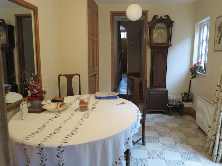 The breakfast room. Breakfast is laid out every morning for the guests to take at their leisure.