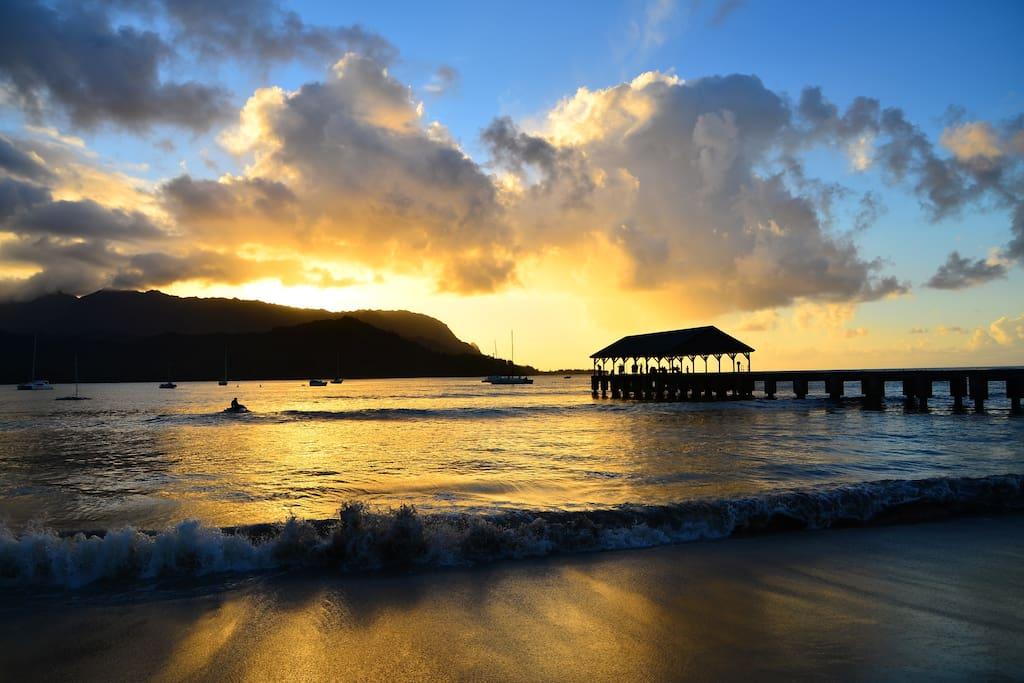 Hanalei Bay is a 10 minute drive or 1 mile walk through Hanalei Bay Resort