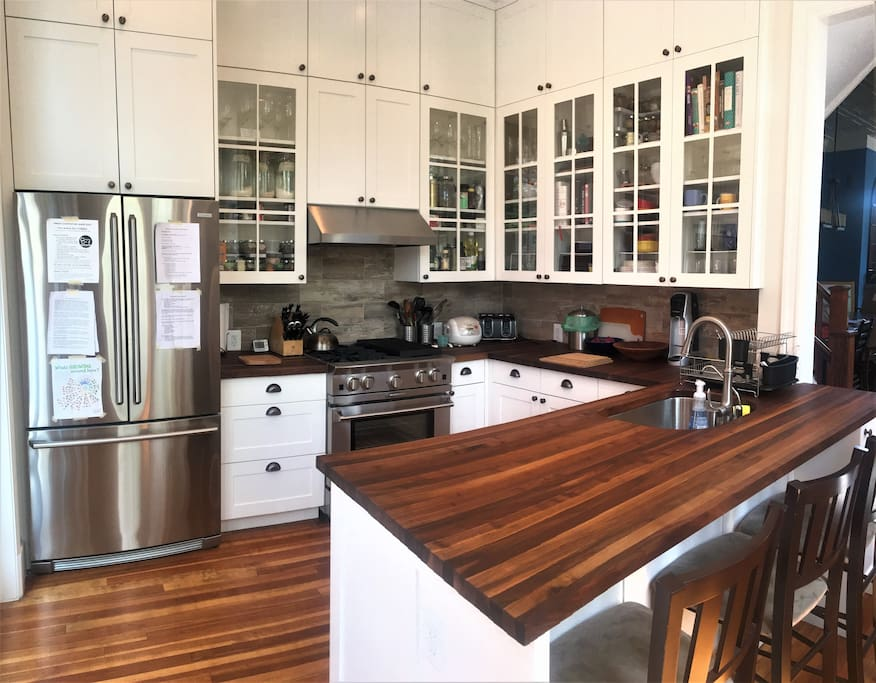 Newly-renovated kitchen with Blue Star range