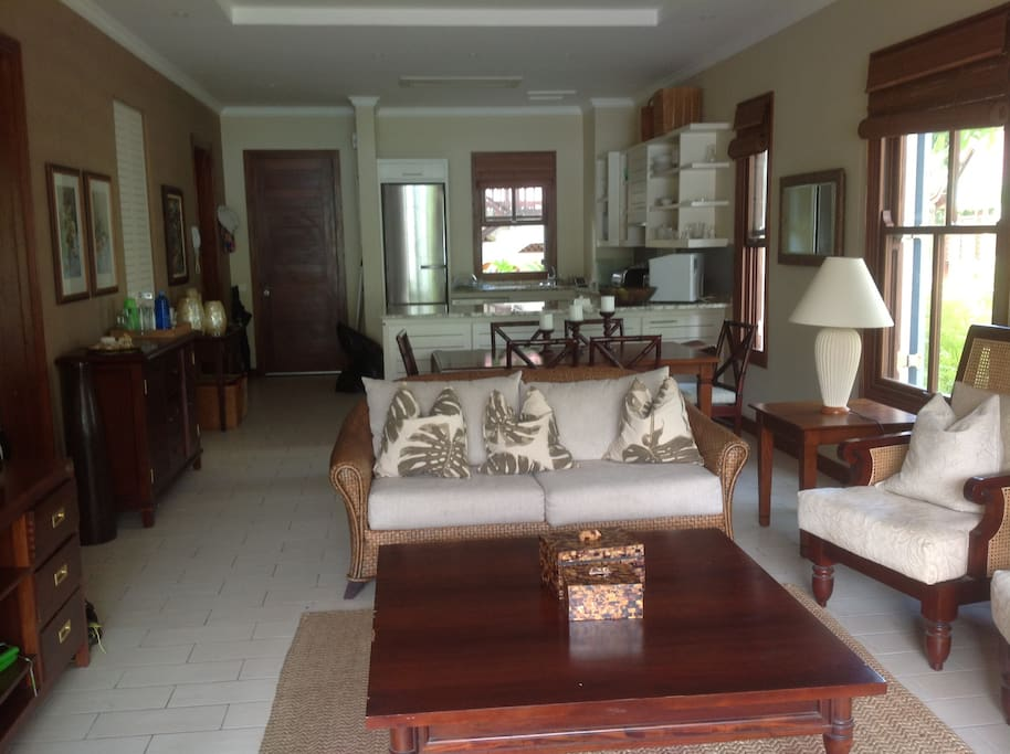 This is a view from the veranda into the lounge, dining room and kitchen.  The two bedrooms  are on the right.