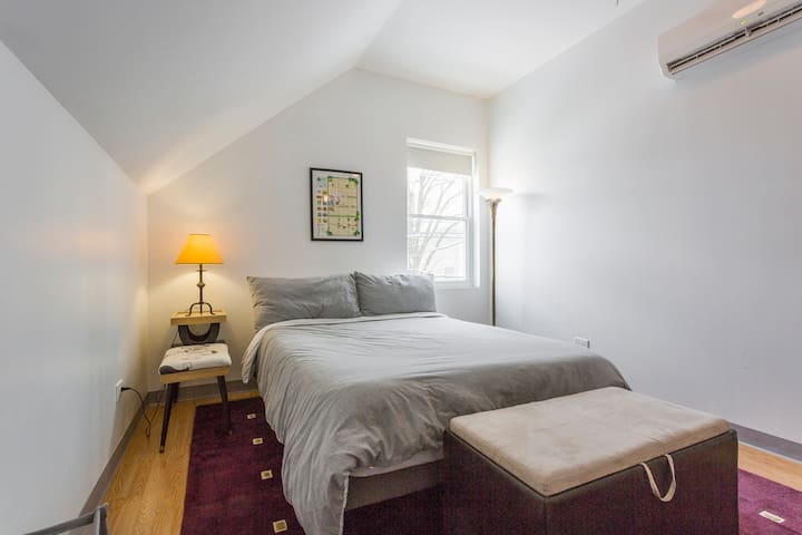 The loft offers free WiFi, a large private bedroom with a comfortable queen bed and hotel quality linens