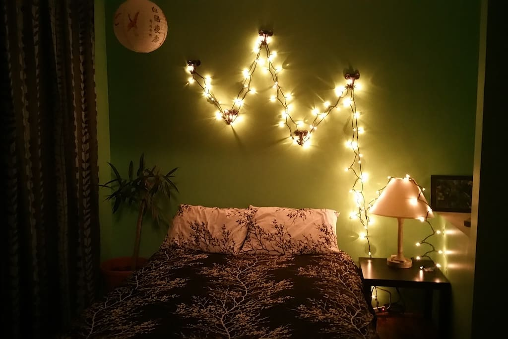Lights in one bedroom.