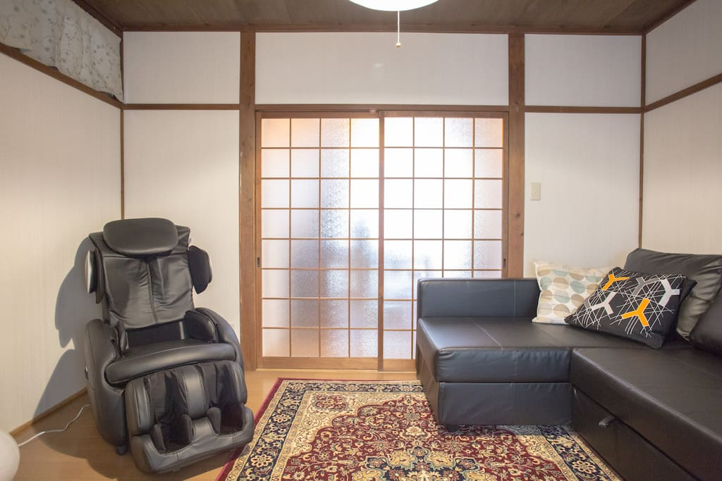 This first-floor room offers a fabulous massage chair, perfect after a long flight or hours of walking around town. The sofa bed sleeps two adults or up to three children.