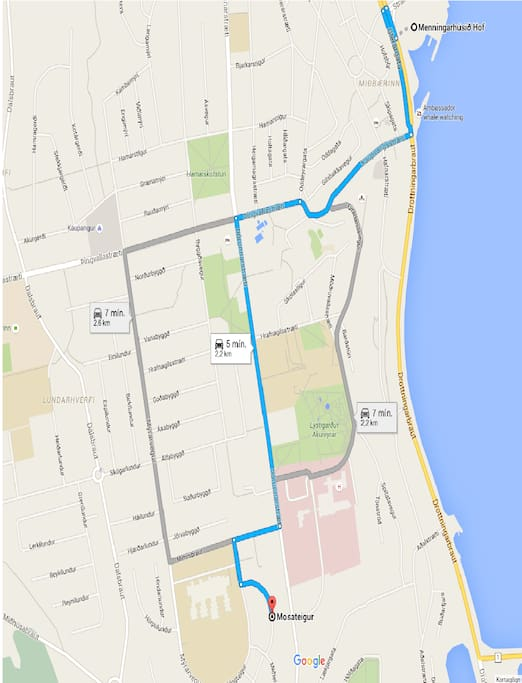 The directions from down town to the apartment