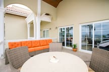Dining and outdoor area on the covered patio.