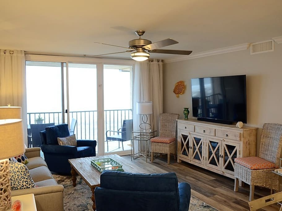 Living Room with Unobstructed Ocean Views at 2403 Island Club