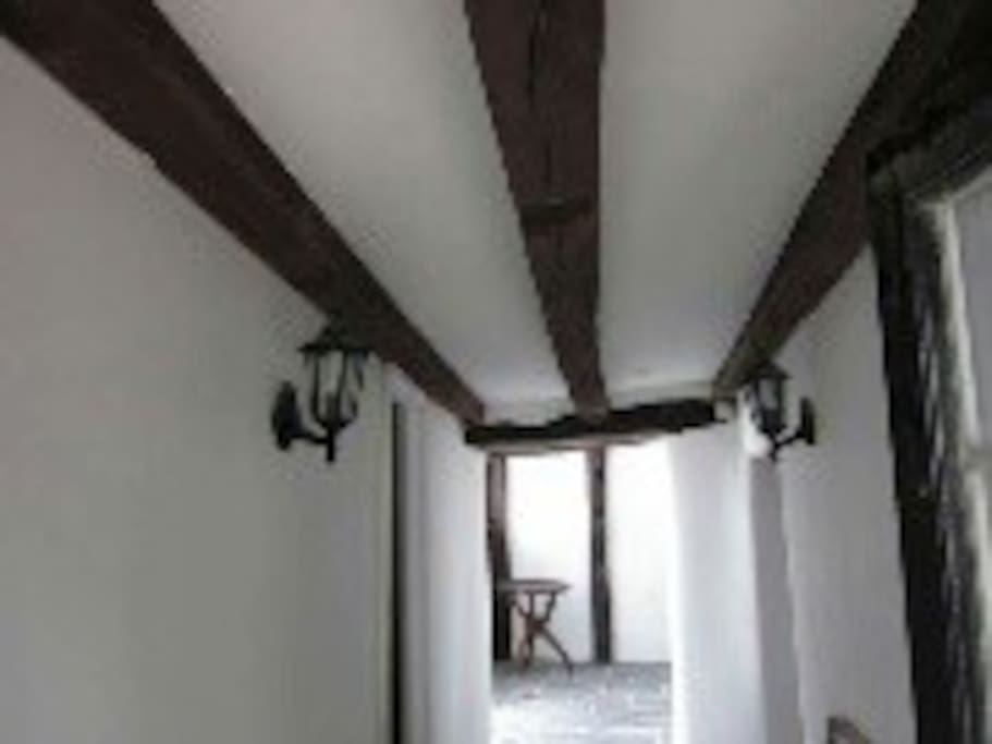 The old beams in the hallway