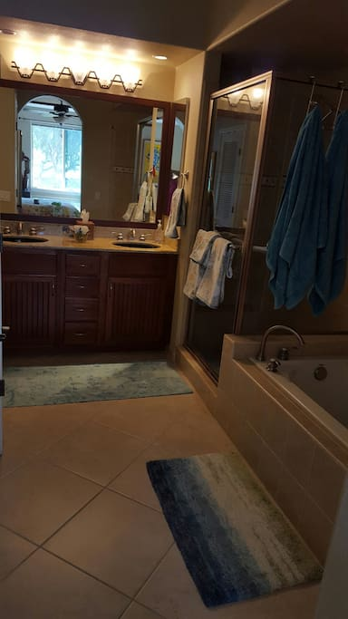 Full bathroom with shower and separate bathtub and water closet
