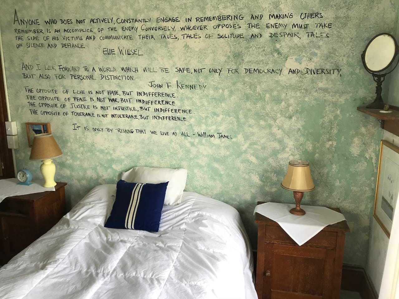 The Malaga Island Room with inspiring quotations by Elite Wiesel and others.