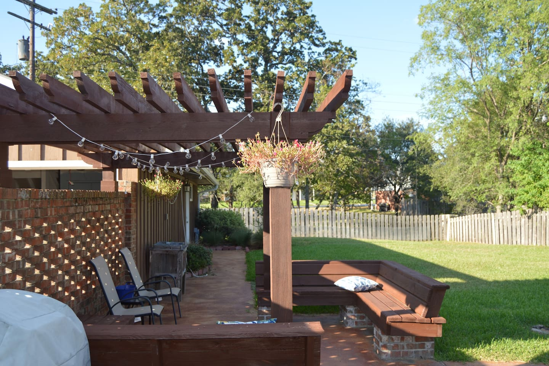 Pergola in backyard and sitting area