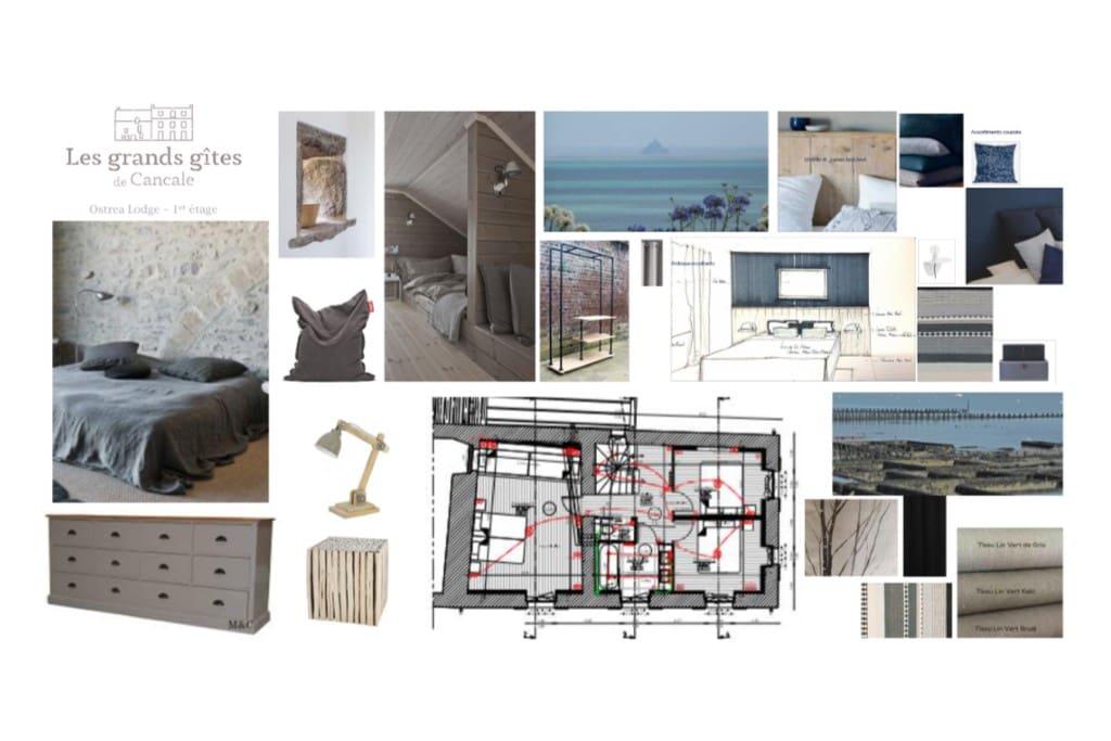 Au premier étage, deux chambres ont une vue directe sur la Baie du Mont-Saint-Michel. Les plus jeunes auront souvent envie de s'attribuer troisième chambre et ses lits superposés.