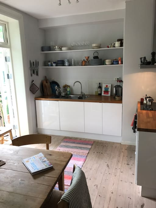 Cook at home in this small but well equipped kitchen.
