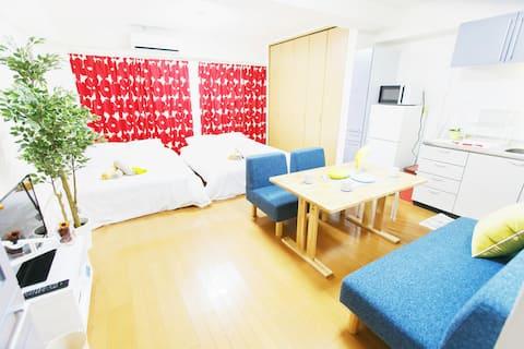 JR Tennouji station / 2 bedrooms 4beds up to 8ppl