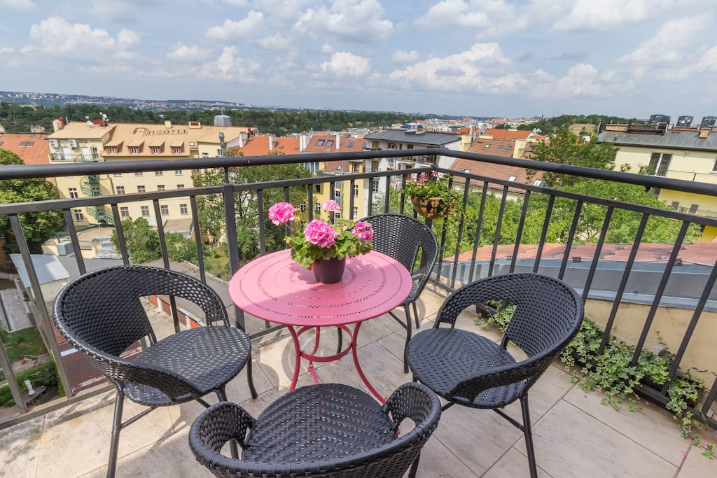 Our terrace has an amazing view all the way to the edge of Prague