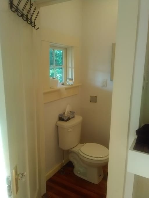 Small private bathroom with shower