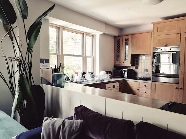 Large, bright kitchen/living room