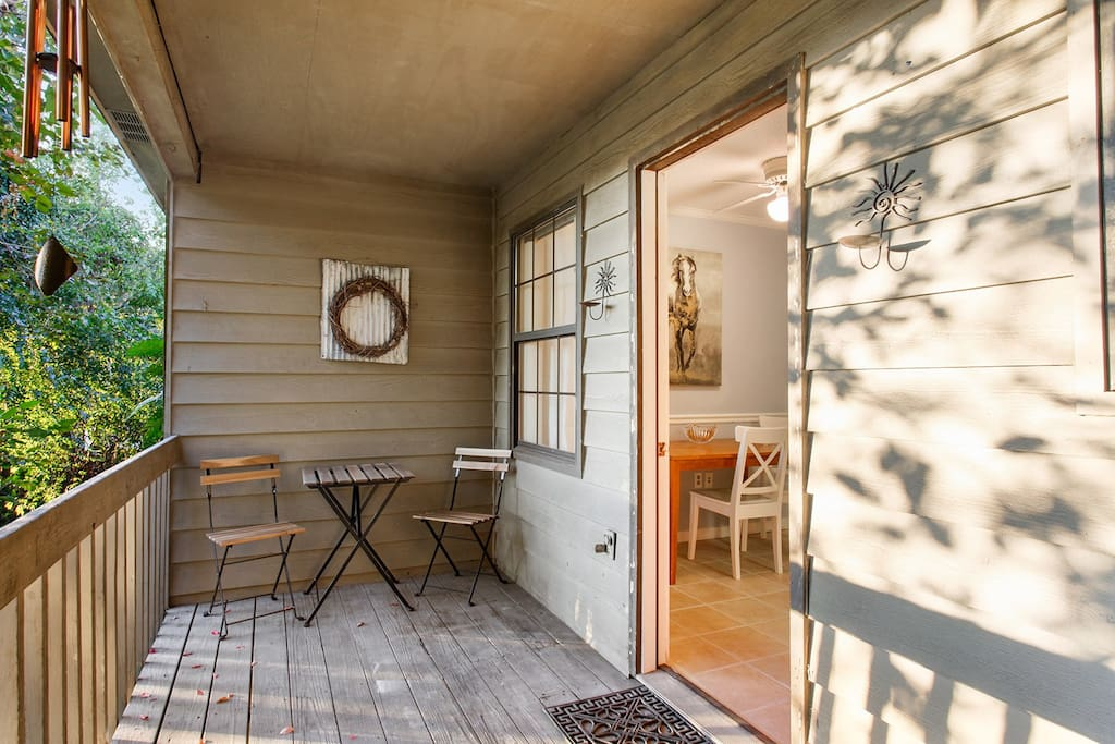 Enjoy morning coffee on the private patio off the kitchen.