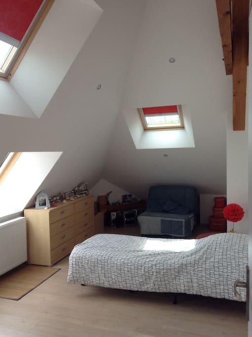 Chambre avec 2 canapes lit 1 place