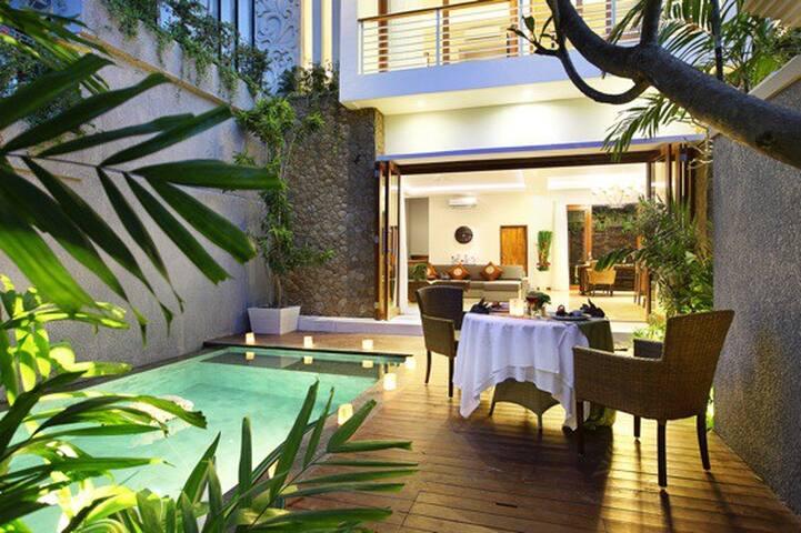 The pool & villa at night