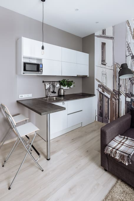 Central studio with city life inspired design apartments for Design apartment riga
