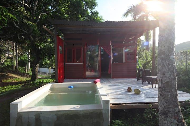 Lodge dans Jardin tropical avec piscine privee