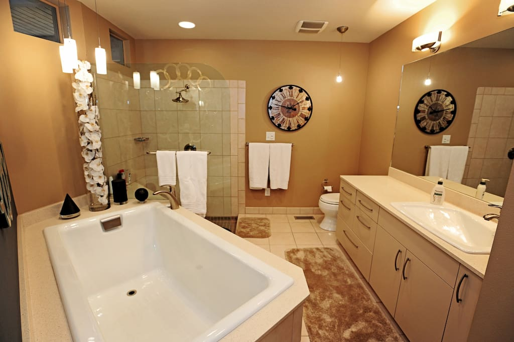 Huge master bathroom with tub and walk in shower.