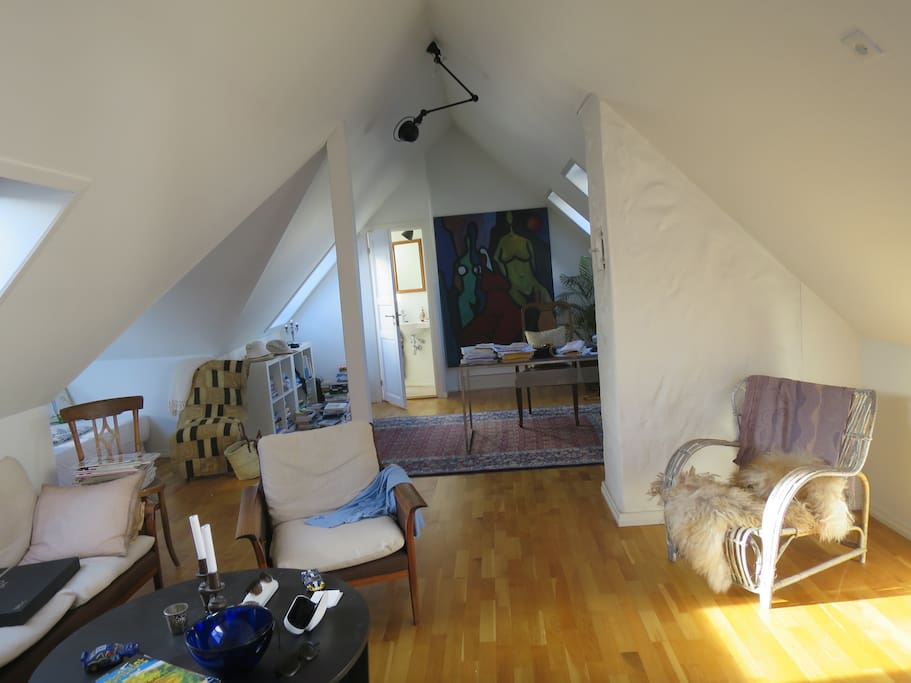 Living room in the attic with sleeping place for two (doublebed) soveplass og utgangs takterrasse