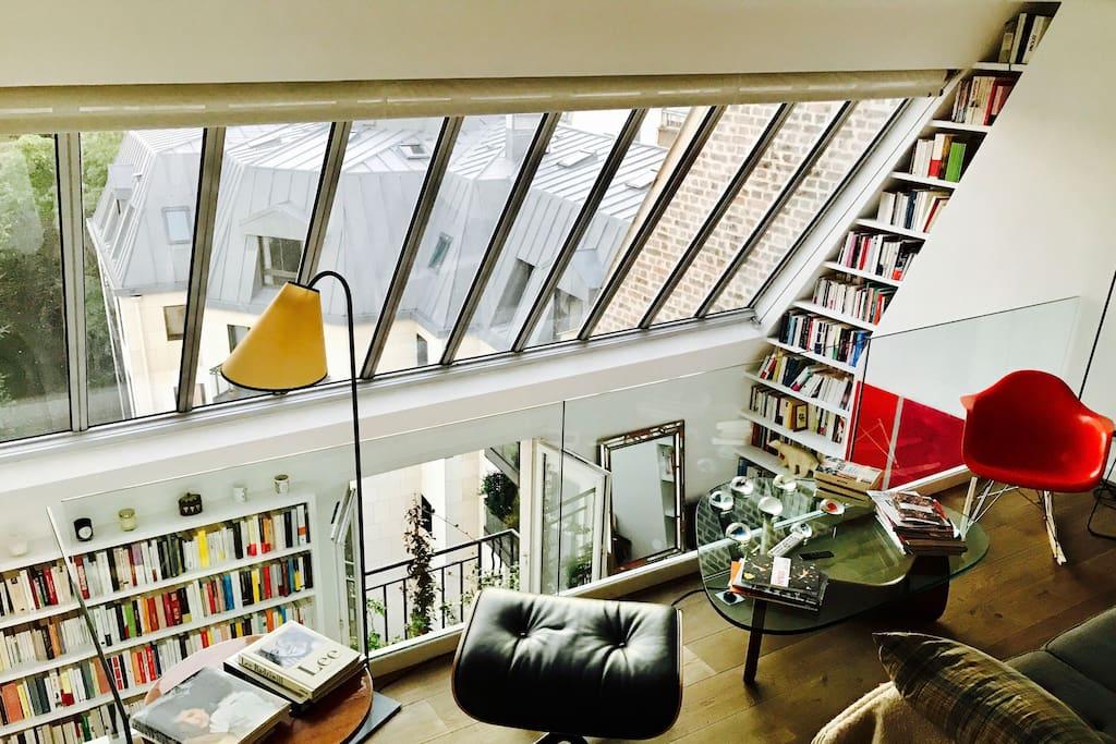 rare loft terrasse montparnasse st germain despr s lofts for rent in paris le de france france. Black Bedroom Furniture Sets. Home Design Ideas