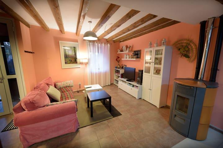 Sala de estar en planta baja , tv, calder Pelet canalizable.