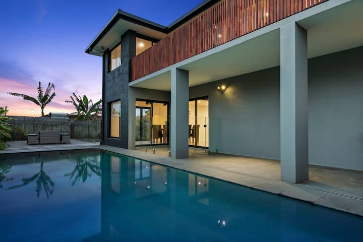 Large home with pool, walking distance to beach.