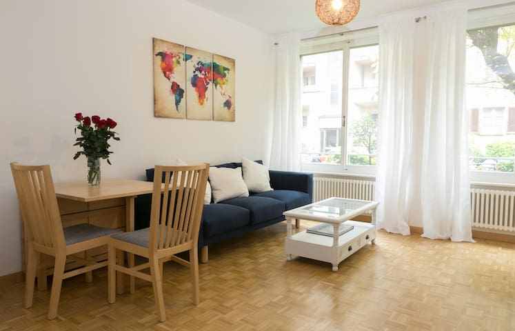 Two-room flat 250m from the Lake, 5mn walk to UN