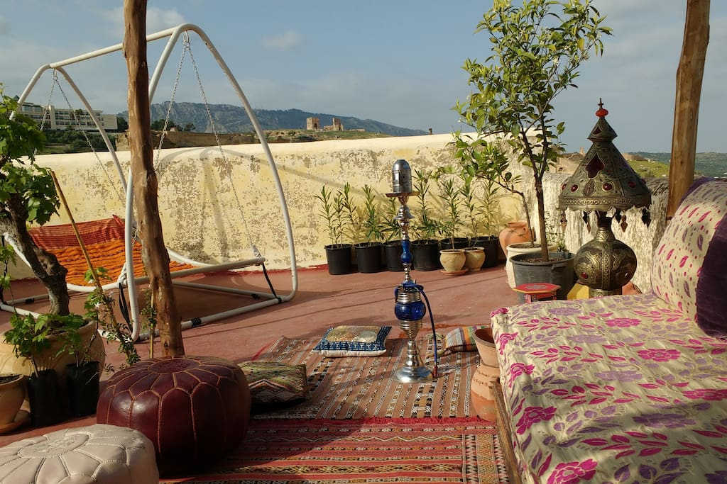 Roof garden with wonderful views of the medina and surrounding mountains.