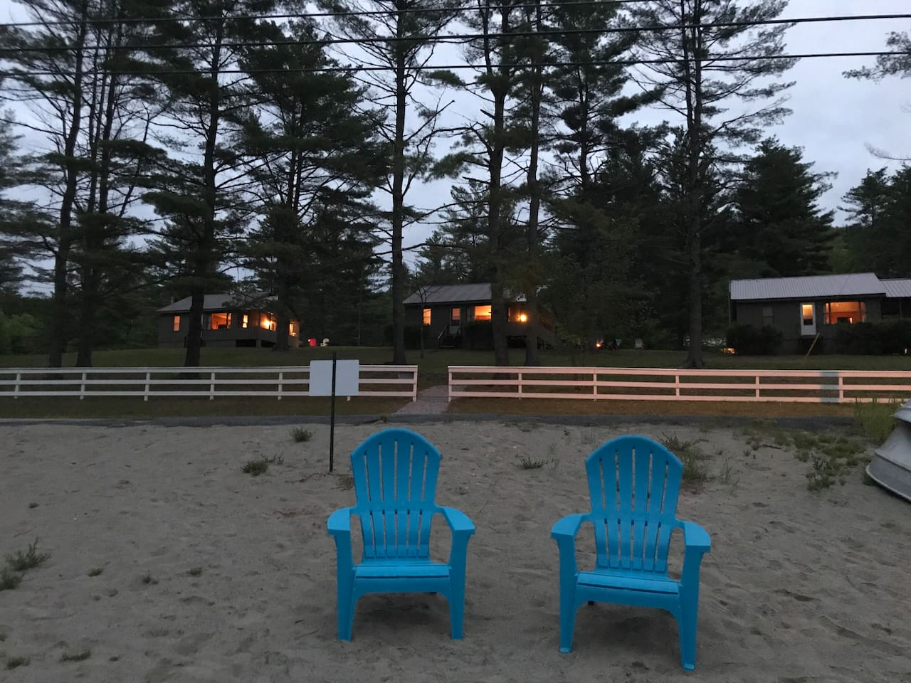 View of cottages and beach from creek