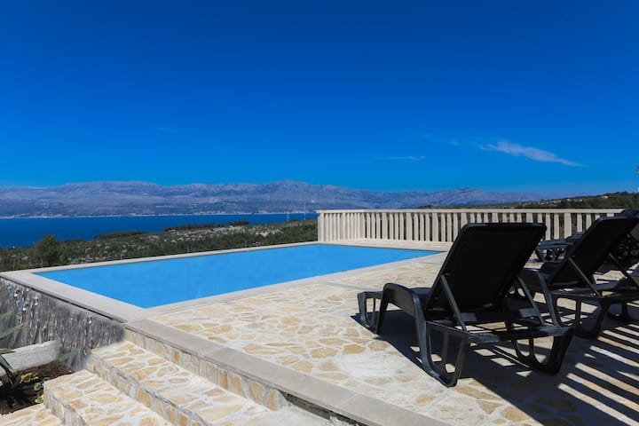 Stunning view Villa Supetra  with pool