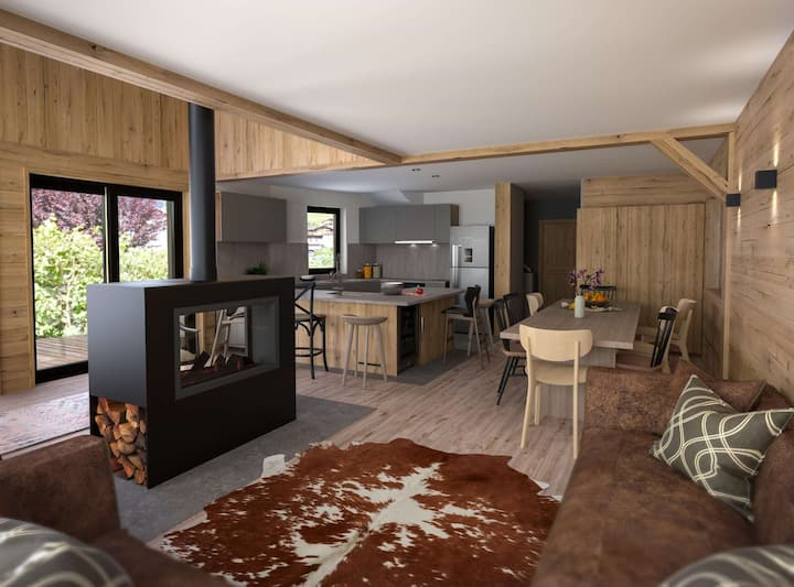 Stunning & brand new chalet in the heart of the resort for 10 people