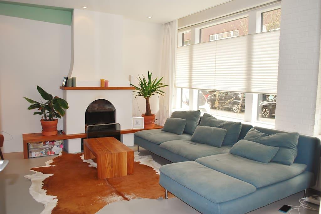 Comfy sofa & fireplace (ground floor)