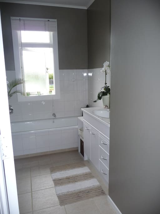 Large family bathroom with bath and shower.  Shared with owners.