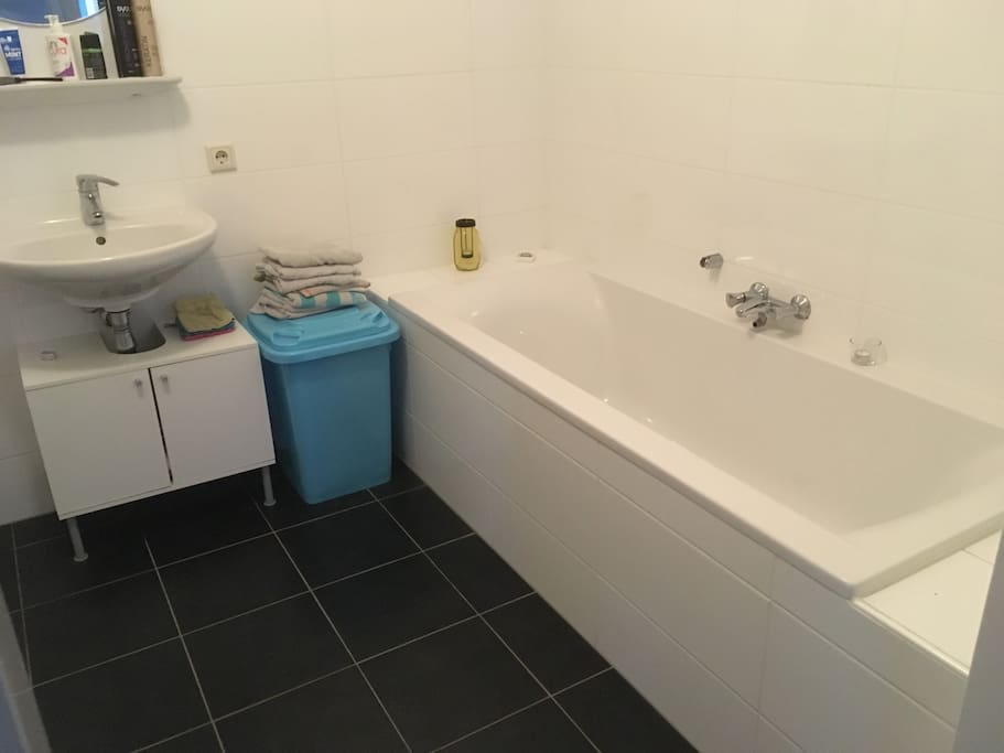 This is one of our two bathrooms. It includes a shower and a douche. The second one includes only a walk in shower.