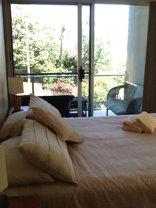 Bedroom 1 with sea views