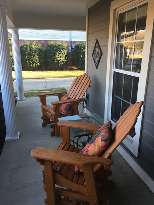 Relax and listen to the birds in these rocking Adirondack chairs custom made by the local Amish community.