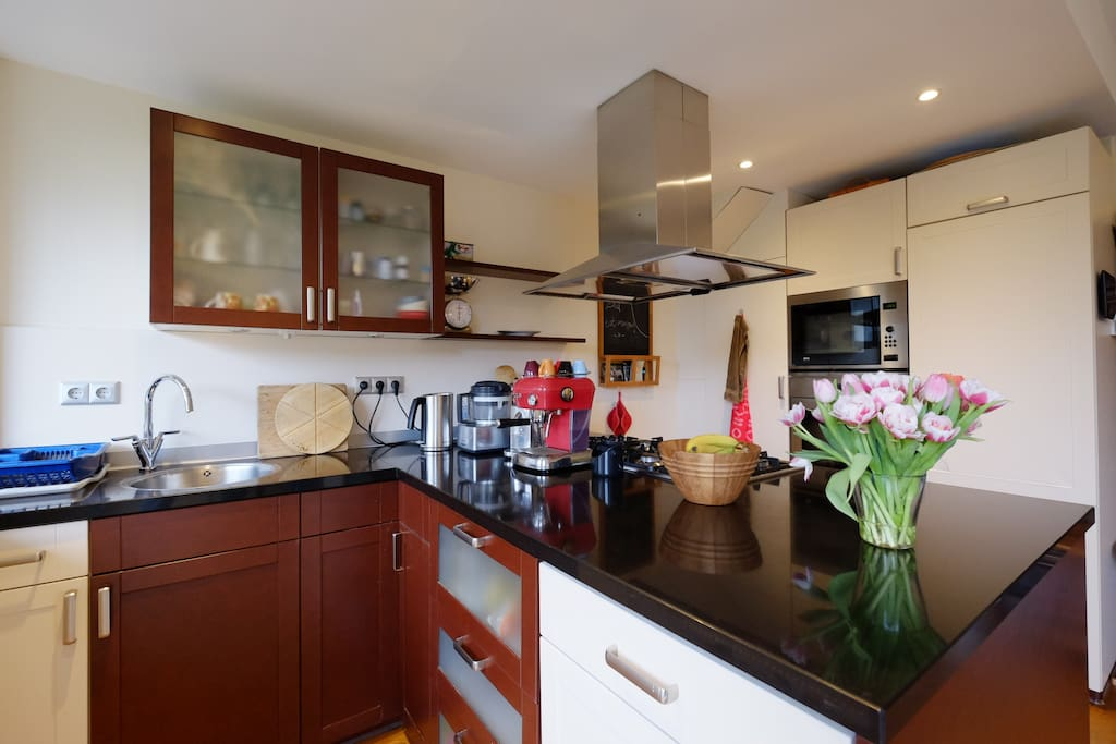 Modern kitchen is fully equiped
