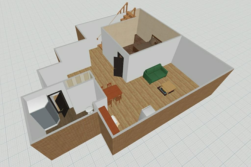 General layout (furnitures and items are not exactly the same as the actual ones)