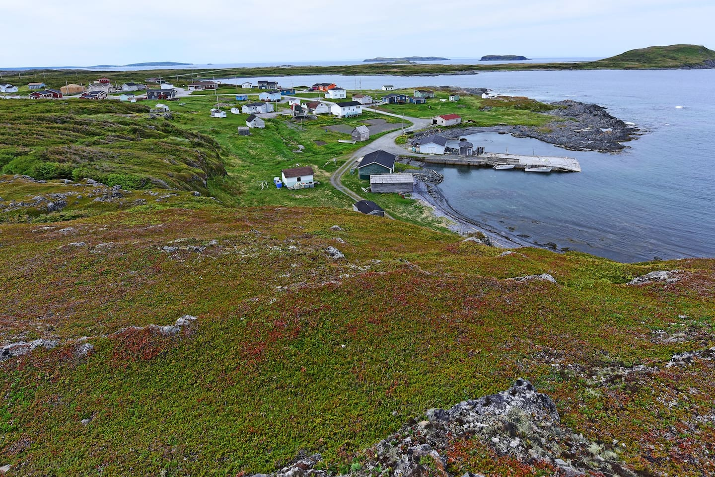 Located in Scenic Hay Cove-L'Anse aux Meadows, Hiking Trails & experience Out Port  Village Life. We are the most northern year round inhabited village on Newfoundland Island. Crowberry Heath & Tuckamores surround  the village