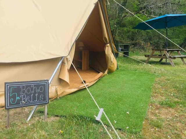 5m Boho tent with double bed, bedding, electric, lighting, bbq, picnic bench and gas stove.