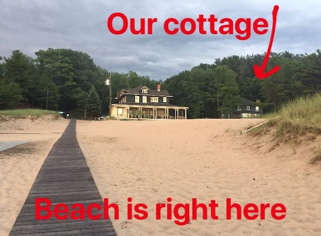The Cottage is on the right, with a boardwalk that leads from our front door to the waterfront.