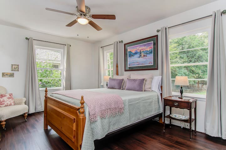Master Bedroom with Beauty Rest Recharge Mattress.  Lovey Ethan Allen reading chair.  Room Darkening curtains with large closet and built-in drawers so you can empty out your suit cases and make yourself at home.